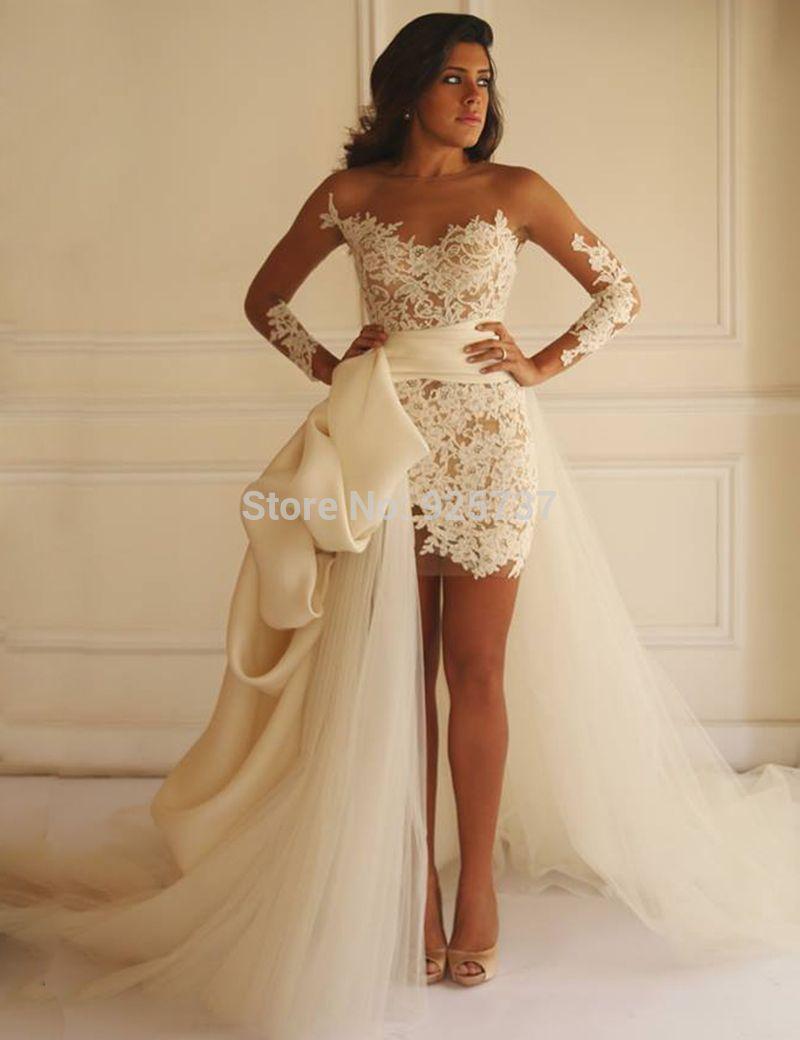 Vestido Novia 2016 Tulle Train Detachable Skirt Wedding Dress Short Front Long Back A Short Bridal Gown Wedding Dresses High Low Detachable Train Wedding Dress [ 1040 x 800 Pixel ]