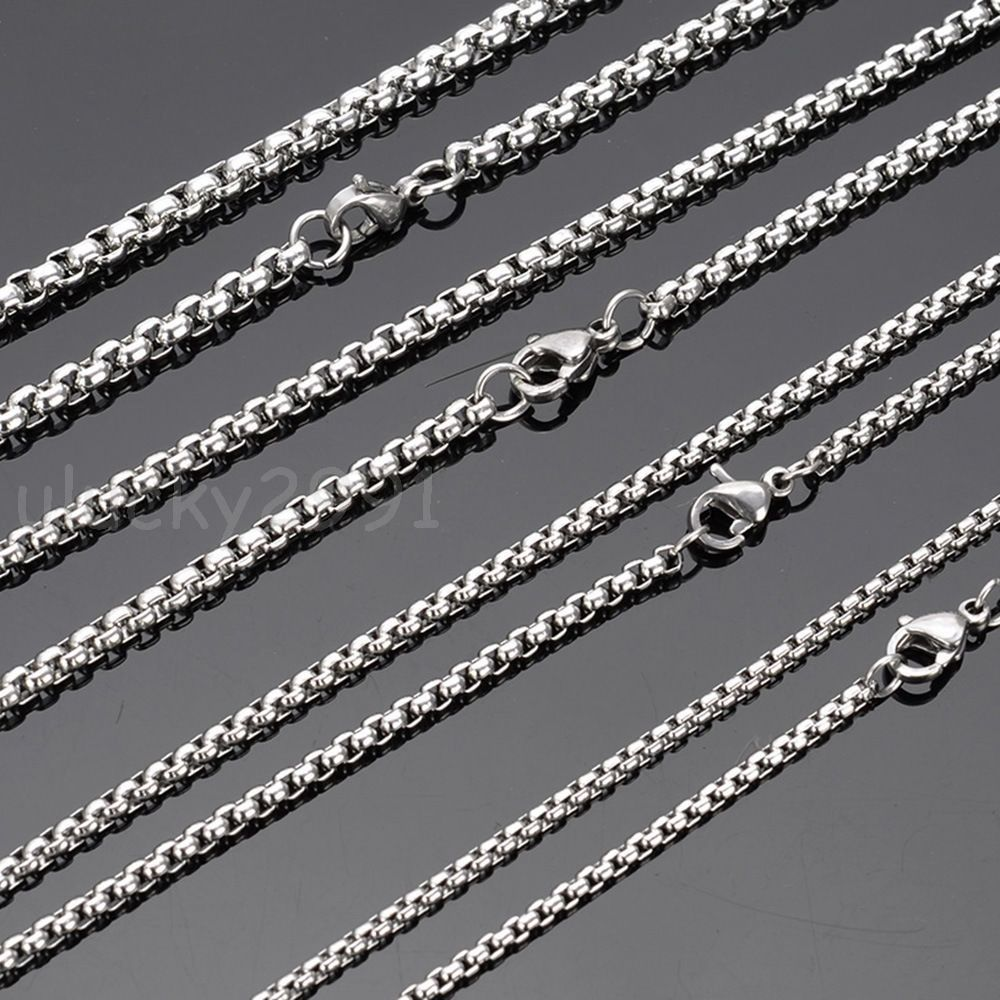 Wholesale in bulk silver stainless steel strong box rolo chain