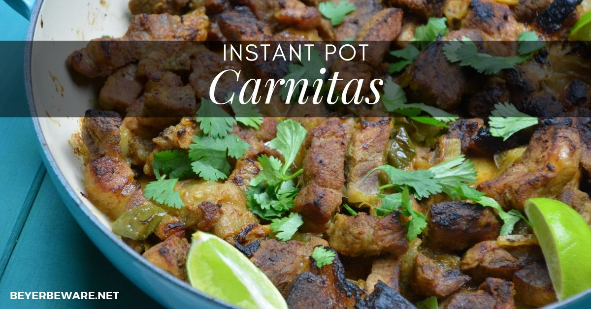 Instant Pot Carnitas Combine Pork Shoulder Pieces With Citrus Mexican Seasonings And Beer To