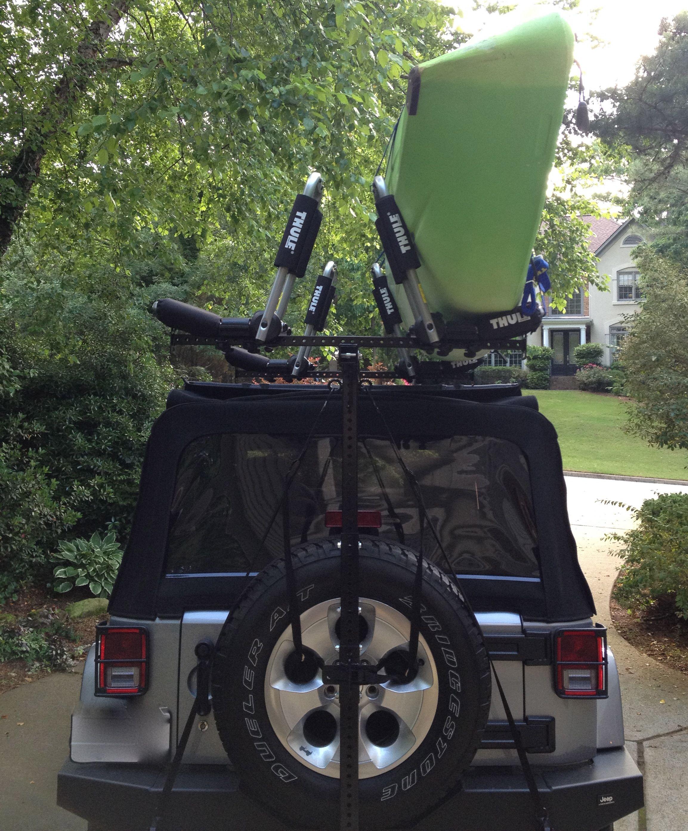 Hitchmount Rack With Thule Mounts Jeep Accessories Kayak Rack Jeep Wrangler Kayak Rack