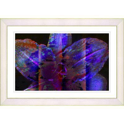 "Studio Works Modern ""Blue Night Flower"" by Zhee Singer Framed Graphic Art in Blue Size: 14"" H x 20"" W x 1"" D, Frame Color: White"