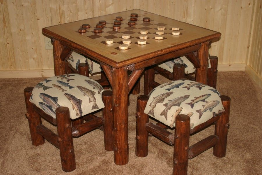 Attractive Walnut/Maple Inlay Checker Table · Rustic Game ...