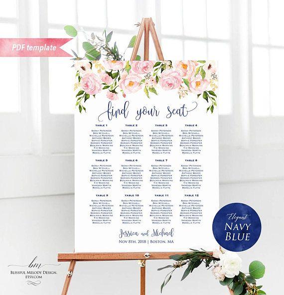 garden rose wedding seating chart blush table assignment table chart template Blush wedding seating chart LIZZY set garden wedding