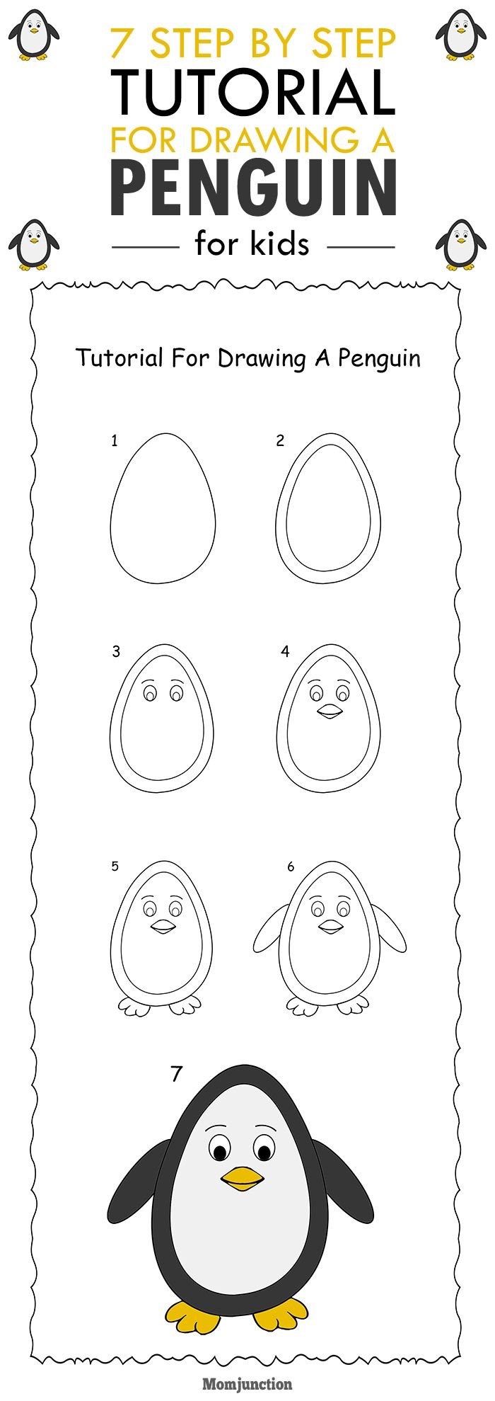 How To Draw A Penguin Step By Step - Easy Tutorial For ...