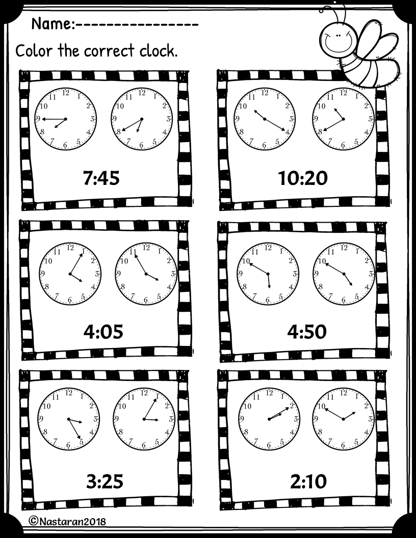 Free Telling Time Worksheet To Nearest 5 Minutes   Elementary worksheets [ 1056 x 816 Pixel ]