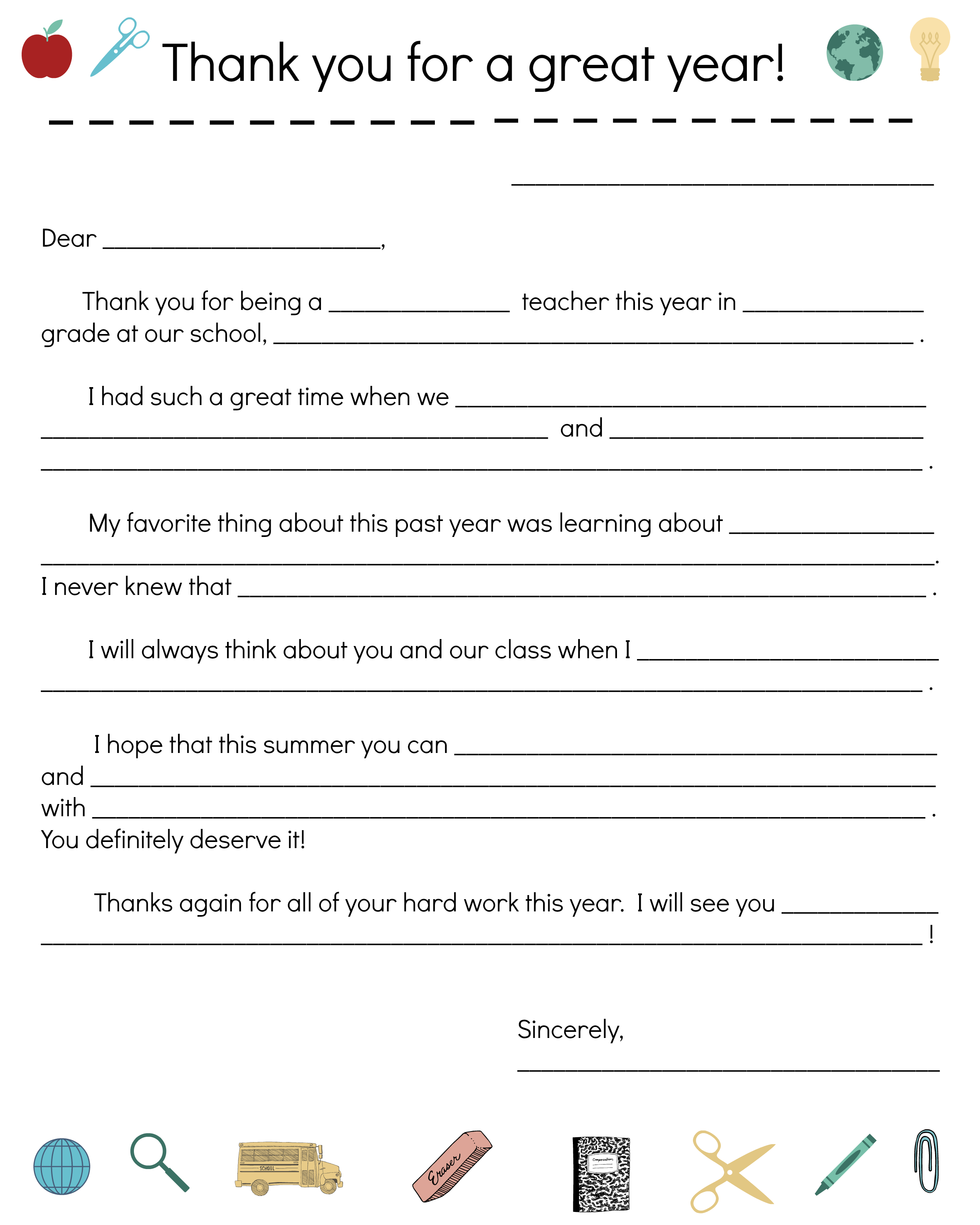 End Of Year Teacher Thank You Note Notes Template