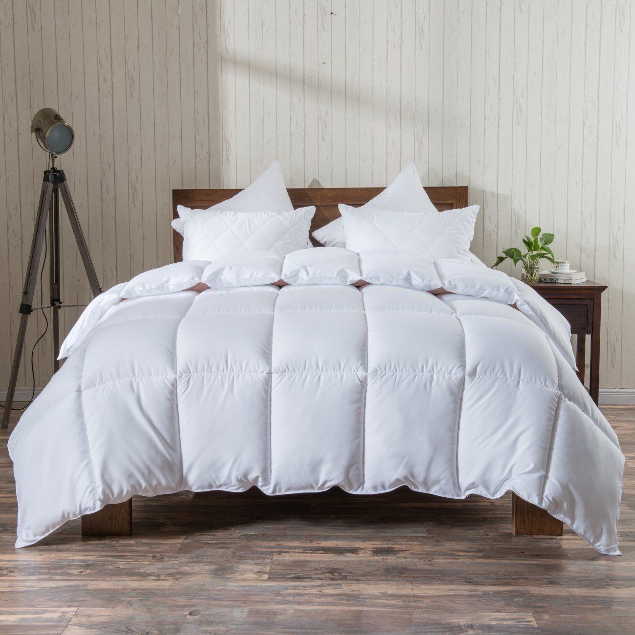 White Comforter Quilted Reversible Duvet Insert King Size With Corner Tabs Hypoallergenic Breathable For All Season Fluf Comforters King Comforter Duvet Insert