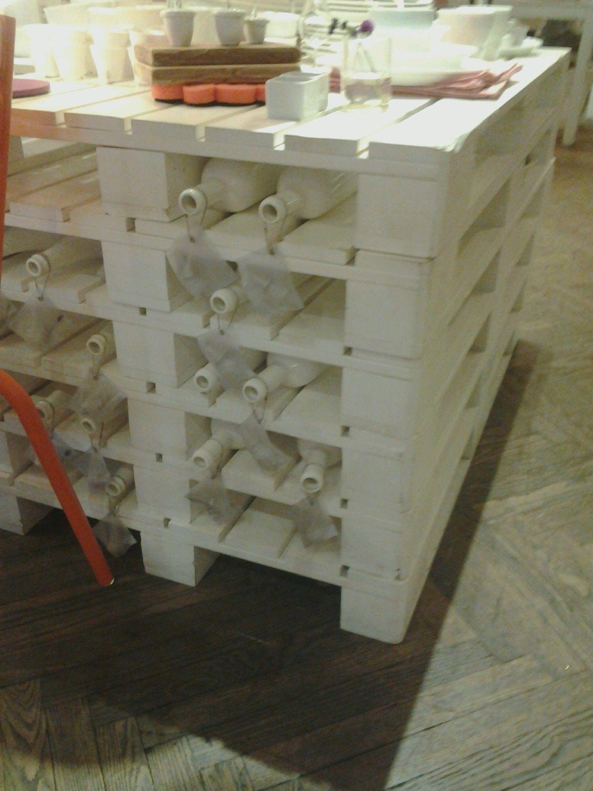 Pallets turned wine rack.