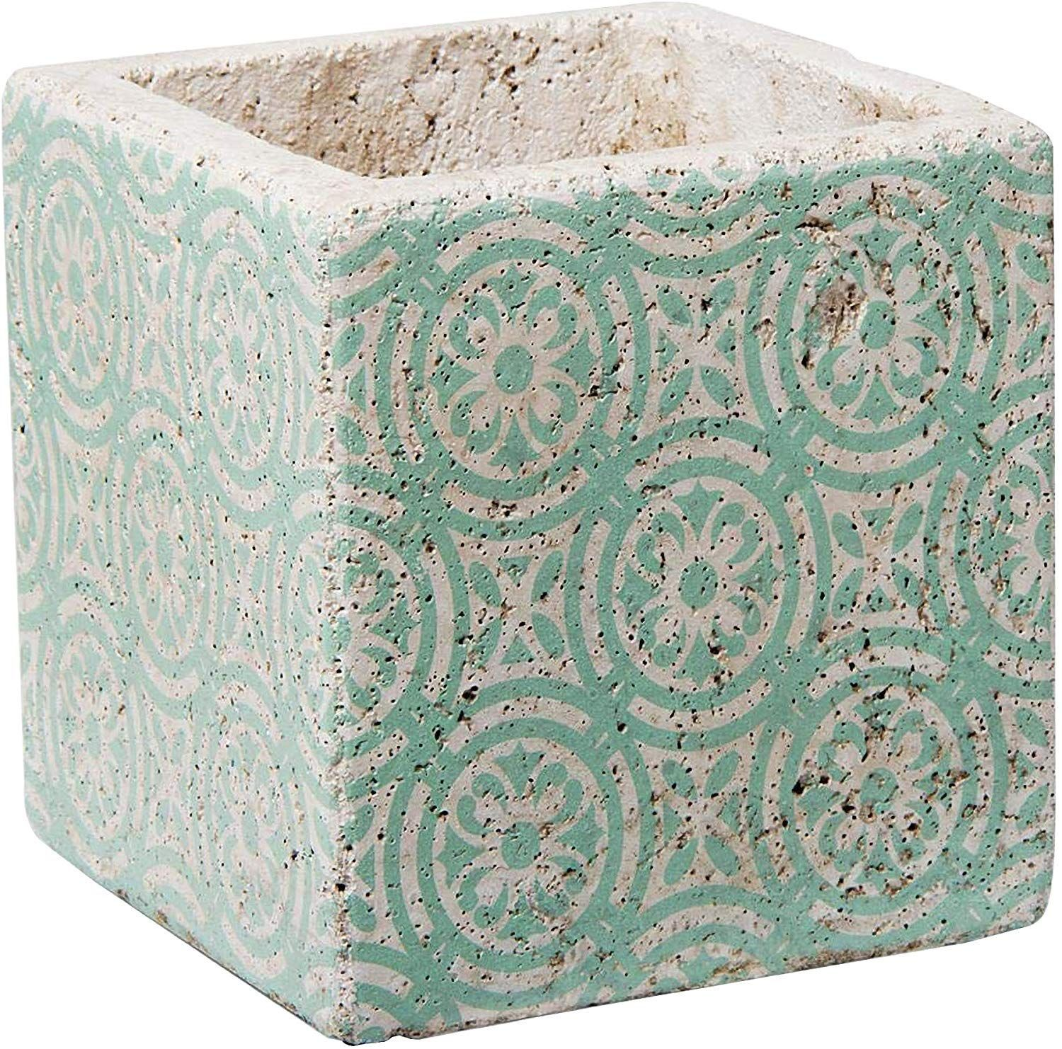 TAG Planter Plant Pot Succulents Indoor Outdoor Square Nomad Ceramic Cement Concrete Boxes White Teal Blue Green and White 55 Inches Squaredblue