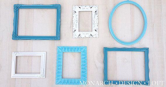 Teal Frame Set Dark Teal Light Teal White Frame Set Upcycled Open ...