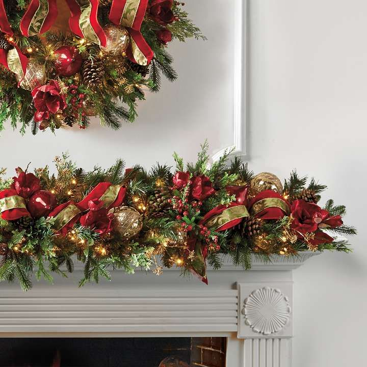 Christmas Joy Decorated Pre Lit Garland Christmas Garland Pre Lit Garland Holiday Garlands