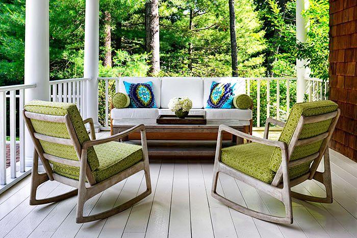 Porches Green Mid Century Modern Rocking Chairs White