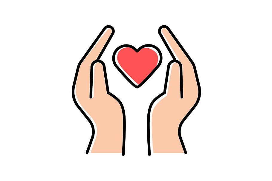 Hands With Heart Color Icon Symbol Drawing Nonprofit Design Icon
