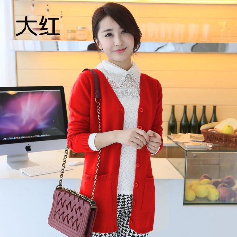 Women Wool Sweater Cardigan Women Sweater Cashmere Knitted Coat Fashion Long Sle... 1