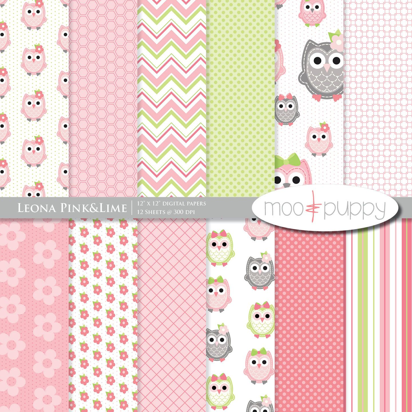 owl digital scrapbook paper leona pink lime 8 5x11 and 12x12