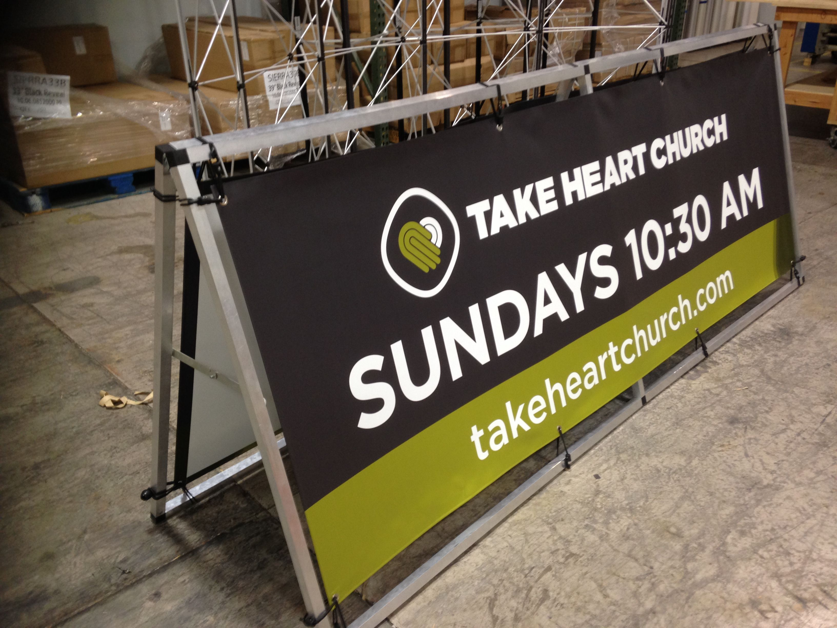 Roadside Banner Frame with Two Graphics | Banners | Church signs