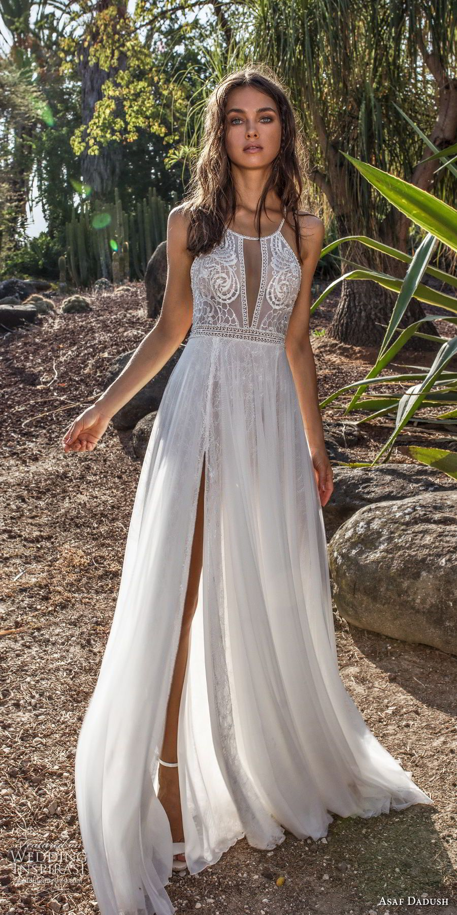 23182fc73b4 asaf dadush 2018 bridal sleevless halter jswel neck heavily embellished  bodice double slit skirt romantic soft a line wedding dress open back sweep  train ...