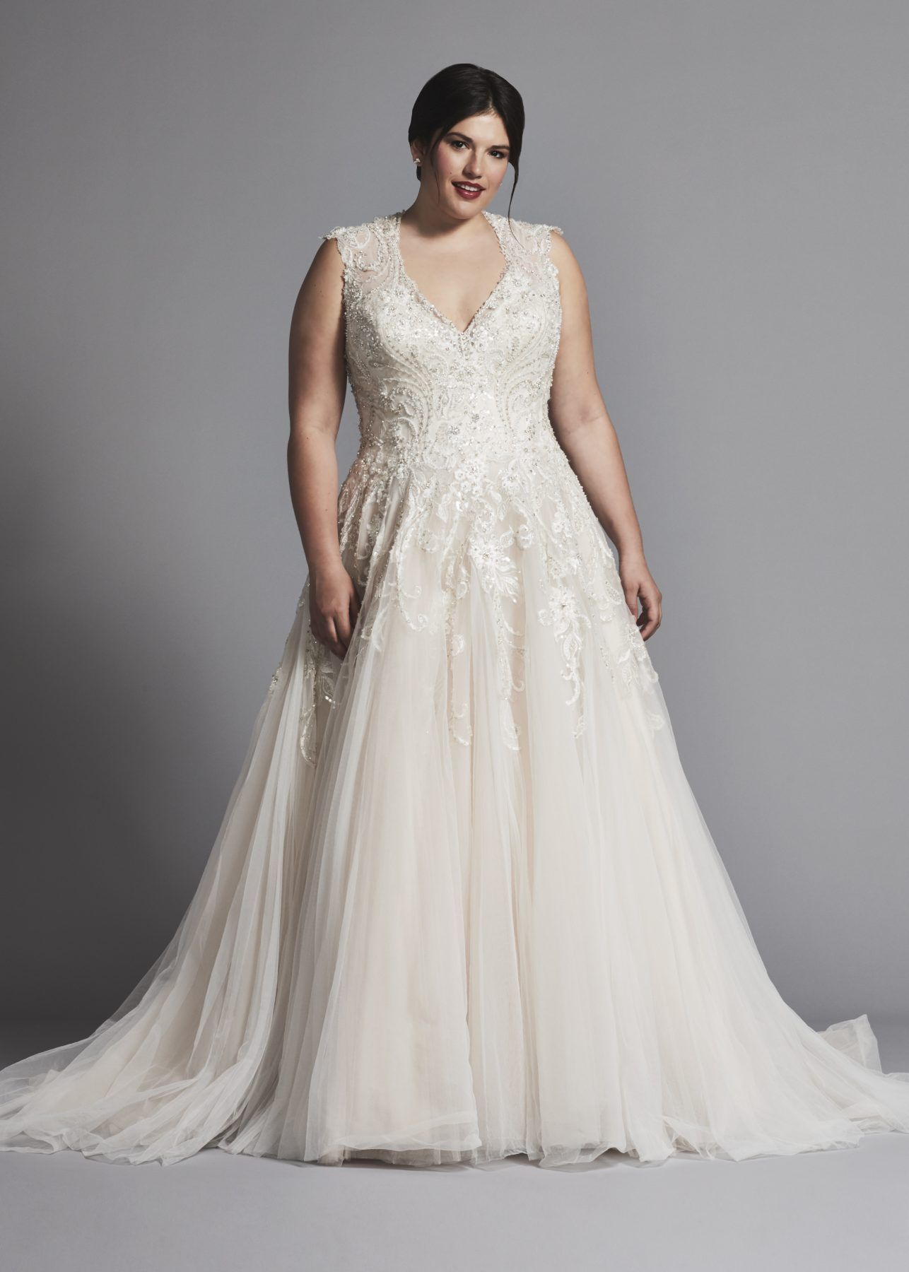 Plus Size Sleeveless V Neck Tulle A Line Wedding Dress With Embroideries Danielle Caprese Plus Size Wedding Gowns Wedding Dresses Plus Size Bridal Dresses