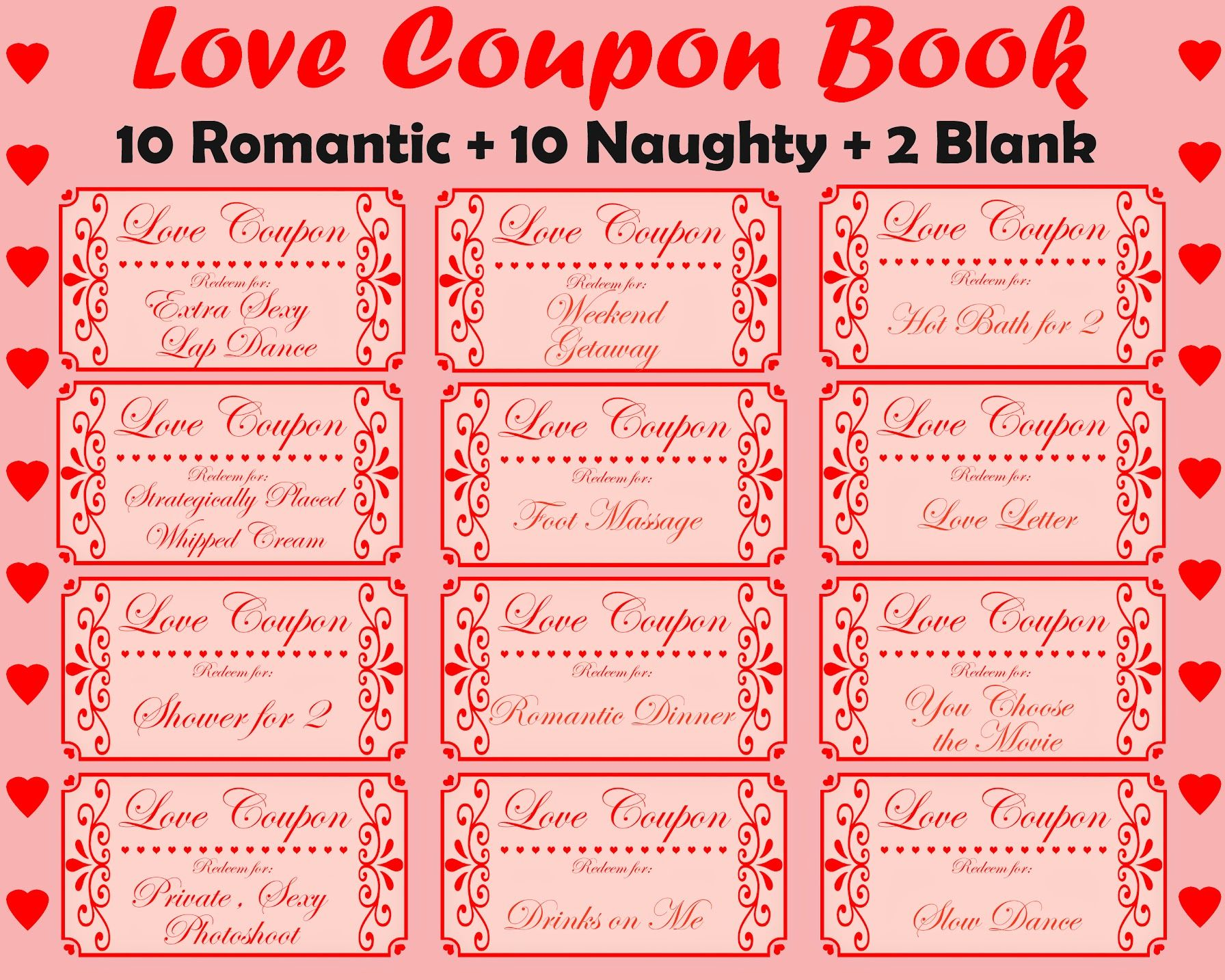 Love Coupon Book Printable Love Coupons Romantic Coupon Etsy Naughty Coupon Book Love Coupons Love Coupons For Her