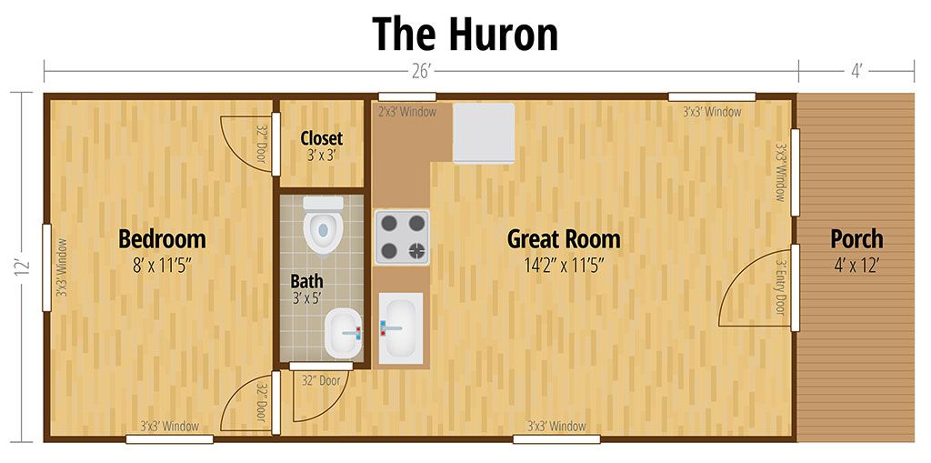 The Huron Cabin Floor Plans Cabin Floor Shed House Plans