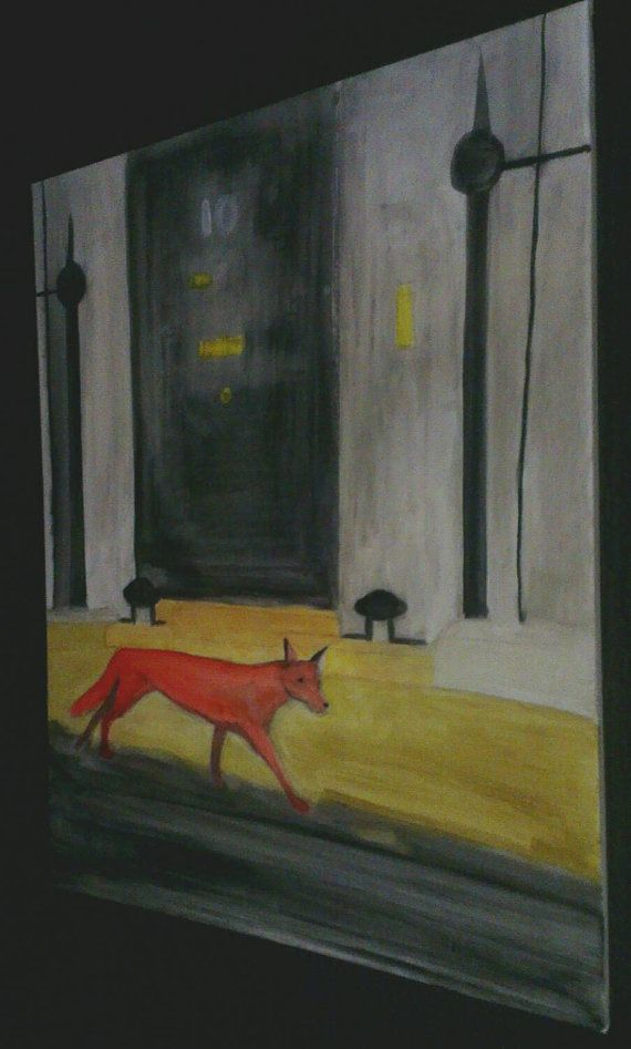 Fox outside No. 10  Abstract painting on canvas by CanvasWarrior