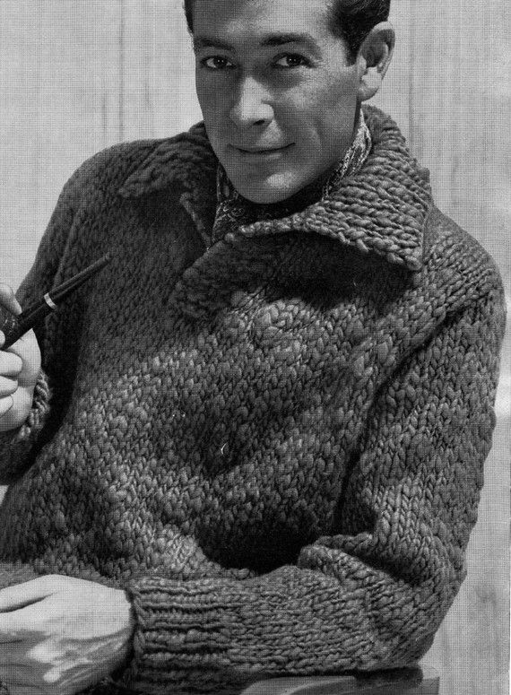 PATTERN Suave 1950\'s Mens Sweater To Knit PDF Pattern of Mens Bulky ...