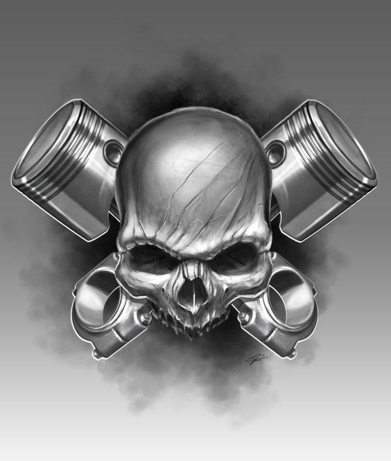 £6.99 GBP - Piston Skull Tattoo Shop Garage Man Cave Metal Tin Sign Poster Wall Plaque #ebay #Home & Garden #garagemancaves