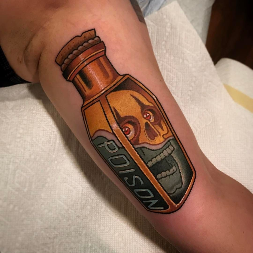 Bottle of poison for Suzanne, Alice cooper inspired tattoo. Thank you! #tattoo #tattoos  @stayhumbletattooco