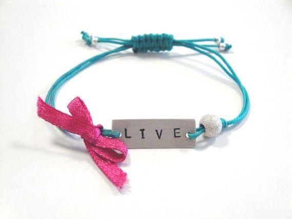 Handstamped Sterling Silver Friendship Bracelet - Teal and Pink