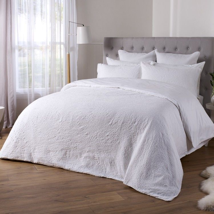 Koo Elite Botanical Quilt Cover Set White King Quilt Cover New Room Single Size Bed