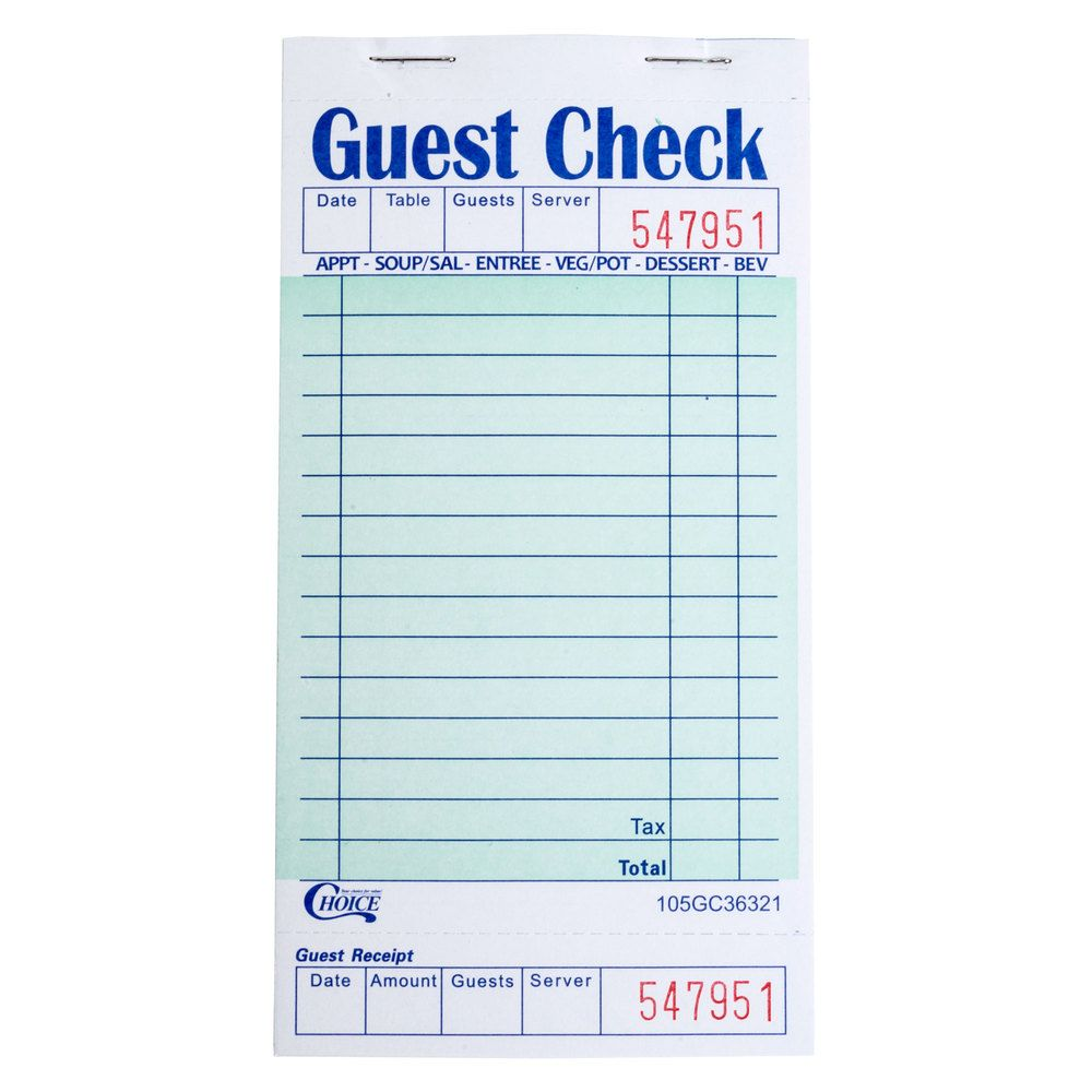 Choice 1 Part Green And White Guest Check With Bottom Guest Receipt 50 Case Invoice Template Receipt Perfect Resume Example
