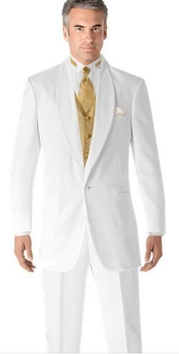 Prom Style Tuxedos White Suit Gold Vest