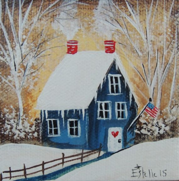 Folk Art Americana Winter Original Miniature Canvas Painting Mini Collection By Estelle Grengs