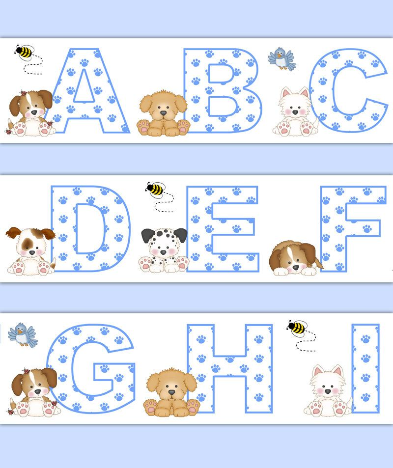Details About Puppy Dog Nursery Alphabet Decals Wallpaper
