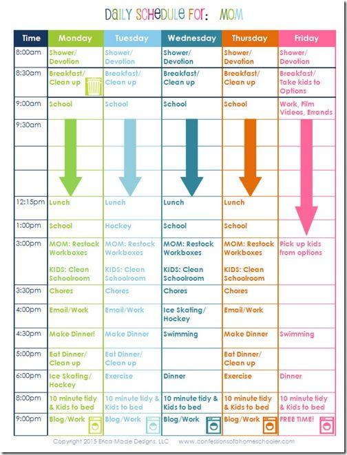 Homeschooling Mom\'s Daily Schedule | Homeschool + Montessori: Early ...