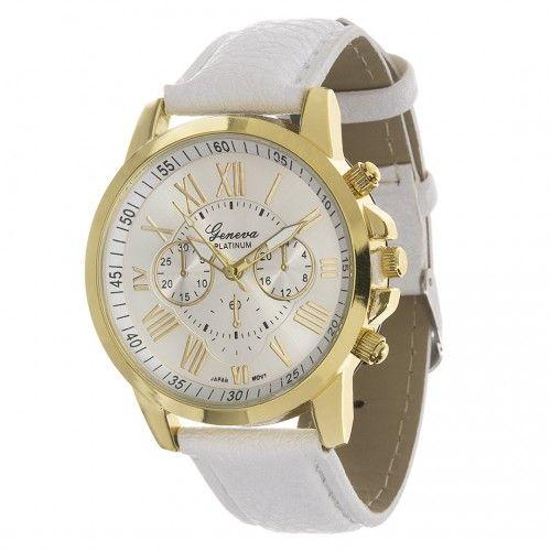 Zegarek Geneva Sweet White Leather Watch Accessories Leather