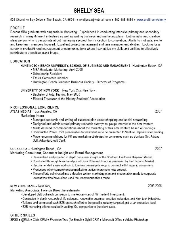 Good Resumes for Sales Positions See the resume samples on the - mba resumes