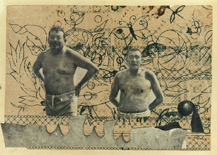 two male figures in bathing costumes stand behind a wall on a cryptically doodled background