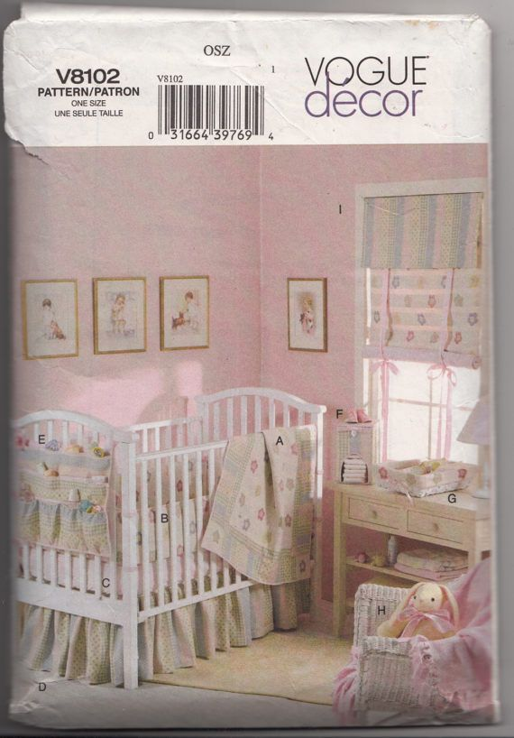 Vogue Sewing Pattern 8102 Baby Nursery Decor Quilt Pers Crib Sheet Dust Ruffle Organizer Diaper S