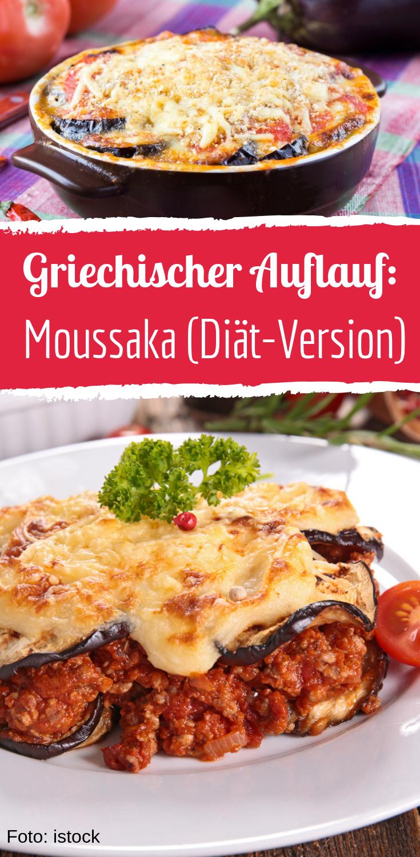 Moussaka mit Hackfleisch, Gemüse und Schafskäse in der Diät-Version