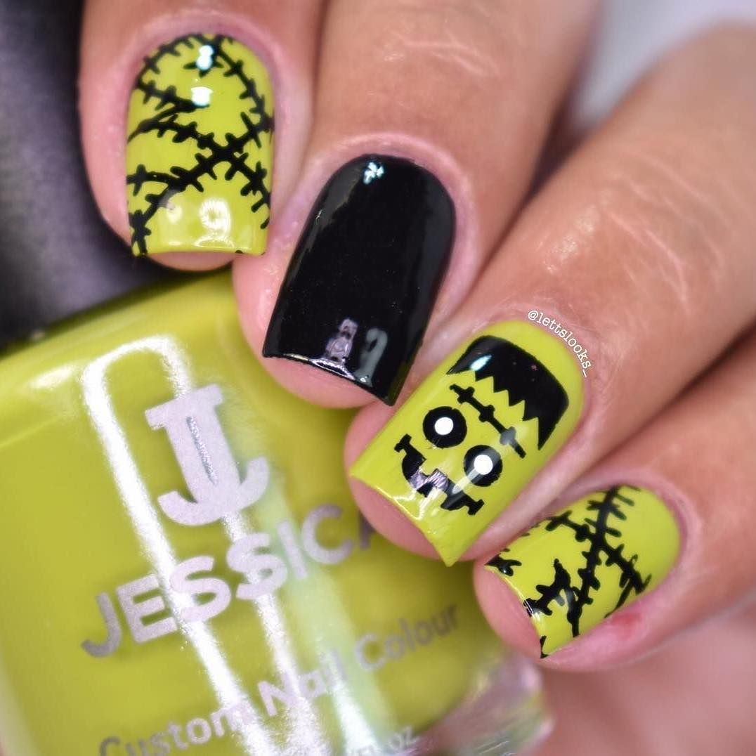 Green from our PRIME Collection is SO perfect for Frankenstein nails ...