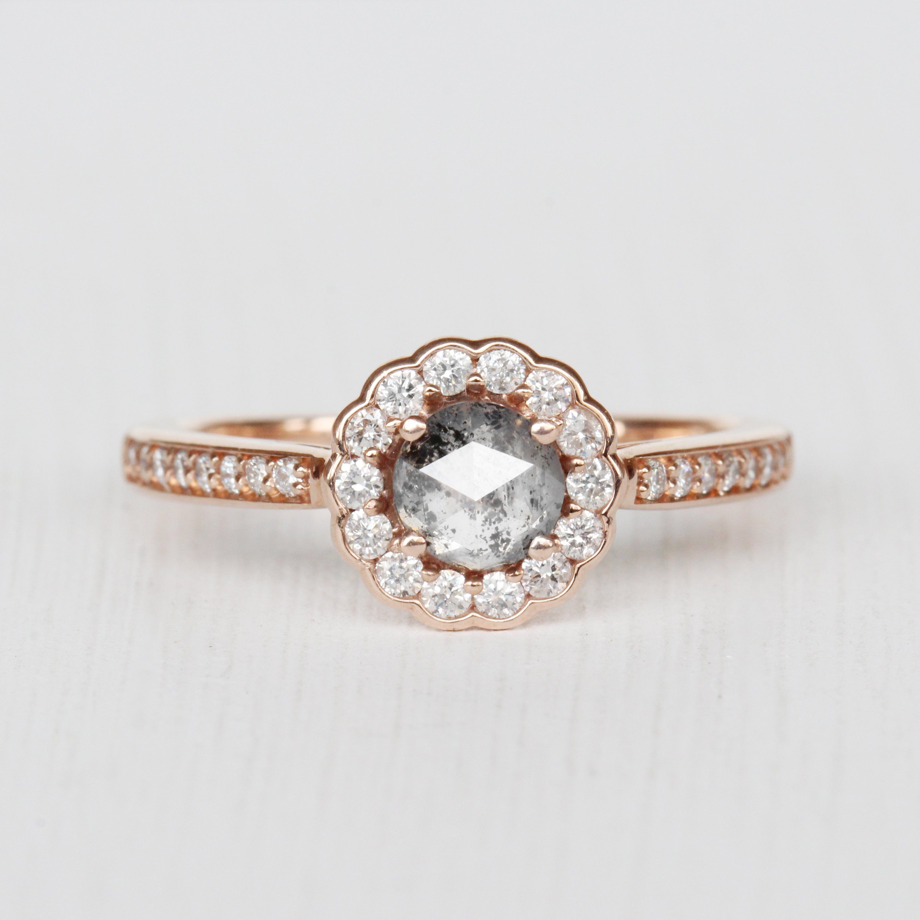 Poppy Ring With A Celestial Diamond In 10k Rose Gold Ready To Size And Ship Rose Gold Poppy Ring Gem Engagement Rings
