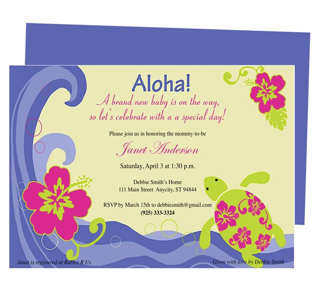 Baby Shower Invitations  Aloha Baby Shower Invitation Template - baby shower flyer templates free