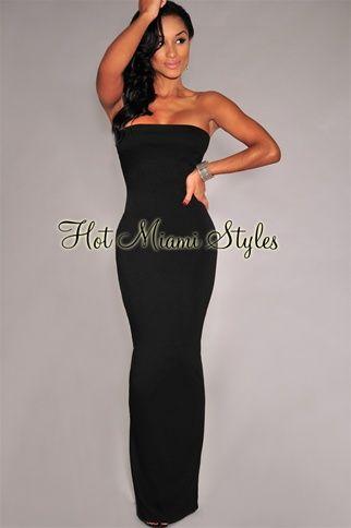 Black Back Vent Strapless Maxi Dress