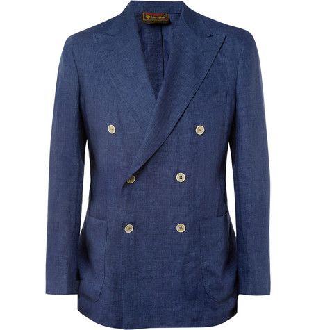 <3...Unstructured Linen Double-Breasted Blazer....Loro Piana