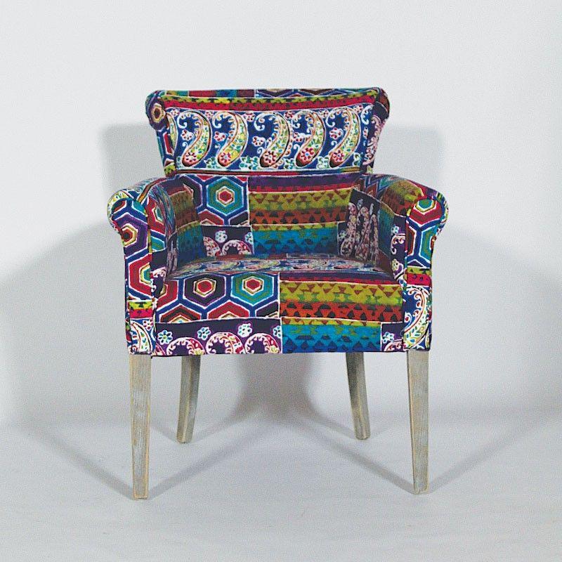 Fauteuil patchwork ethnique en bois et tissu coton - Fauteuil tissu patchwork ...