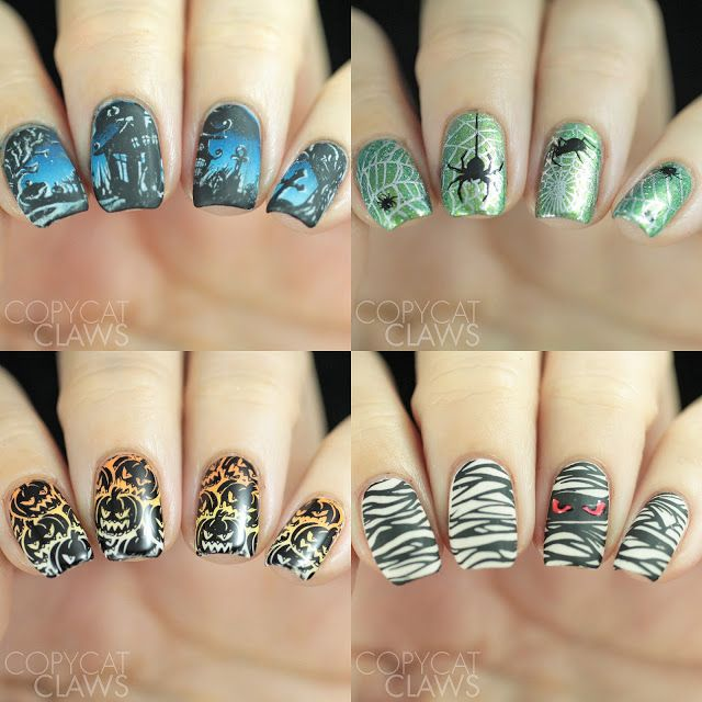 Whats Up Nails A012 and B023 Halloween Stamping Plates ...