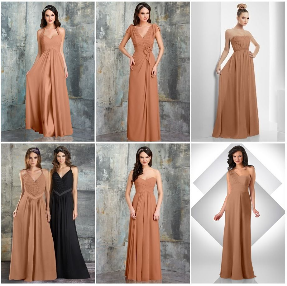 Each bridesmaid will wear a cocoa colored chiffon dress of the each bridesmaid will wear a cocoa colored chiffon dress of the same designer but of a different style note that the color here is not accurate ombrellifo Choice Image