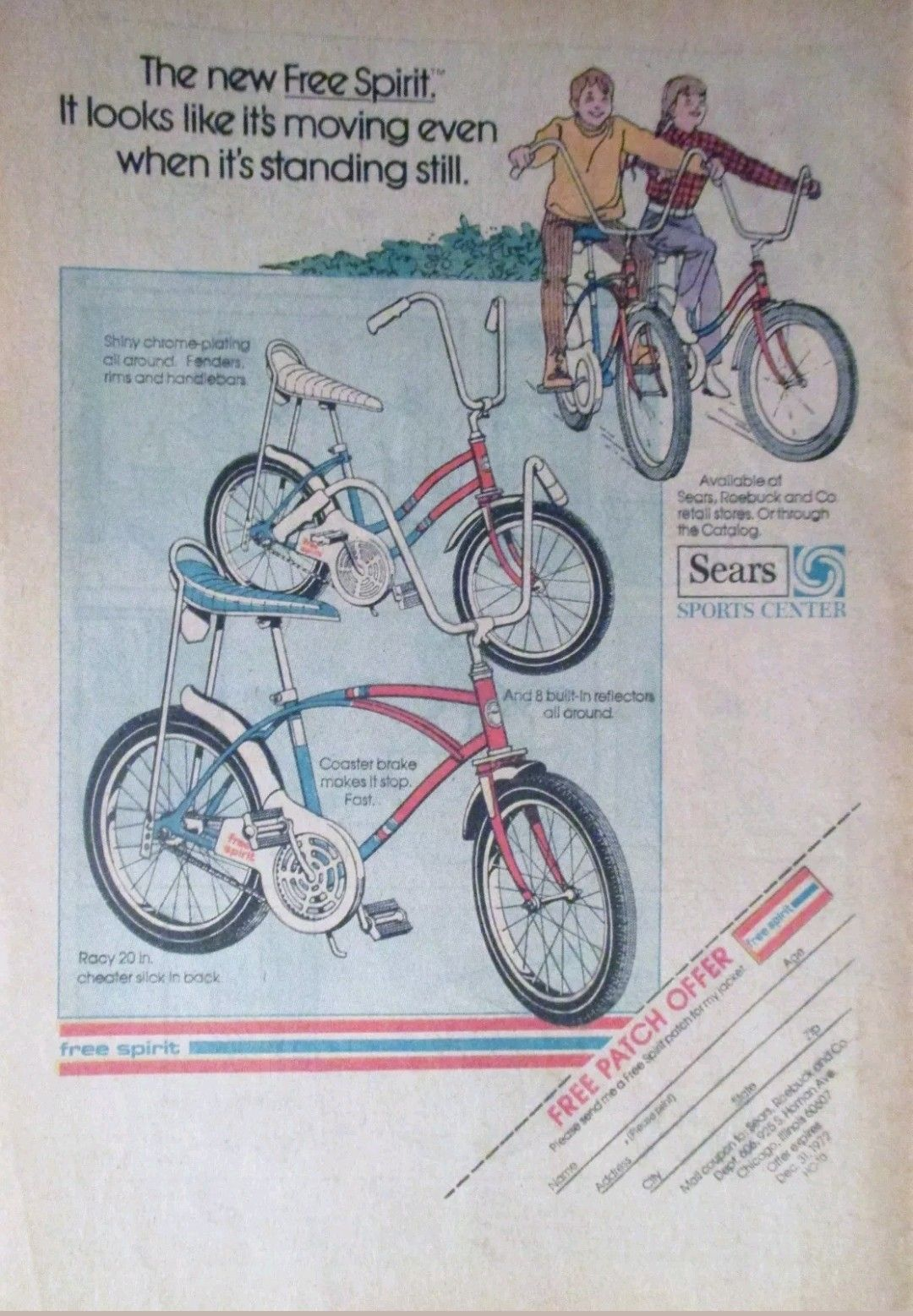 Freespirit Sears Spyder bicycle ad girls & boys 1972 red