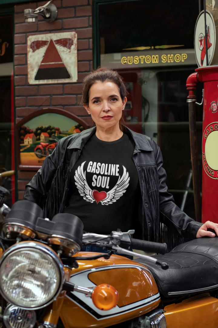 Gasoline Soul | Woman | Motorcycle hoodie | Biker shirt | Motorcycle t shirt | City Radical